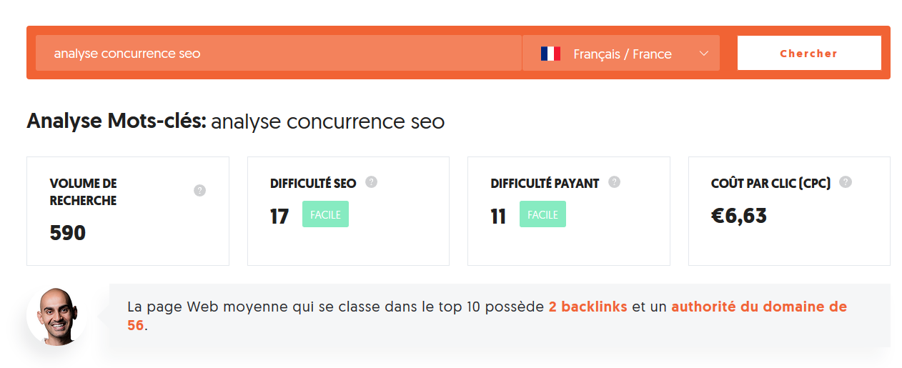 Analyse concurrence SEO avec Ubersuggest