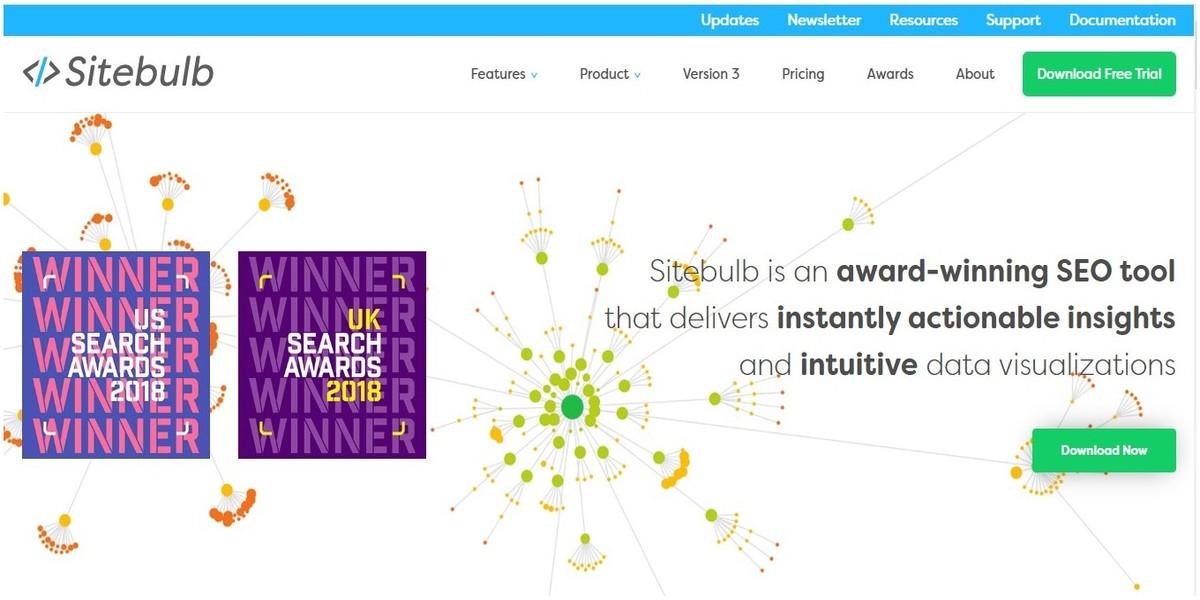 SiteBulb outil d'audit SEO technique récompensé en 2018
