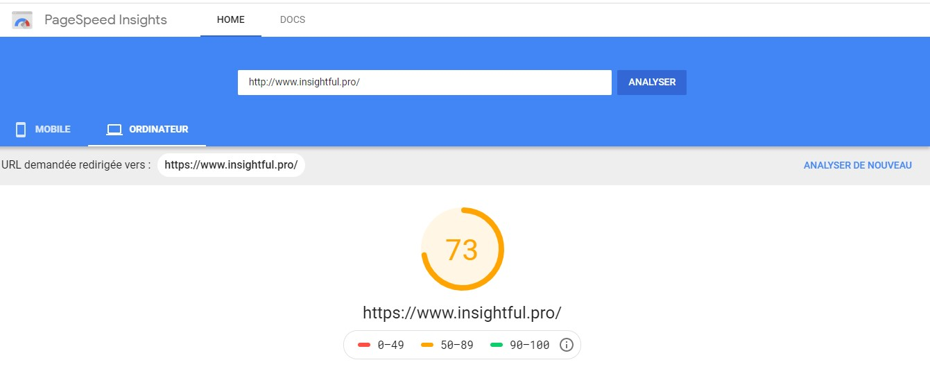 Analyse Google Page Speed Insight
